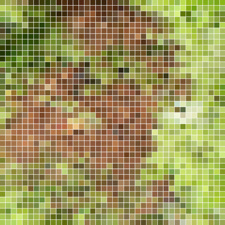 abstract vector square pixel mosaic background - green and brown