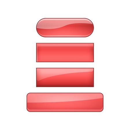 vector bright glossy web buttons set - red Reklamní fotografie - 124991206