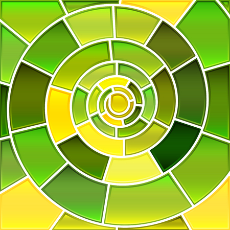 abstract vector stained-glass mosaic background - green and yellow spiral