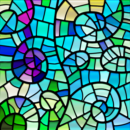 abstract vector stained-glass mosaic background - blue, green and violet Illusztráció