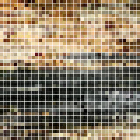 abstract vector square pixel mosaic background - brown and gray