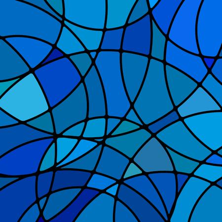 Vector abstracto fondo de mosaico de vidrieras - círculos azules Ilustración de vector