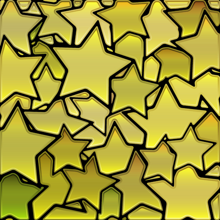 abstract vector stained-glass mosaic background - yellow stars Ilustrace