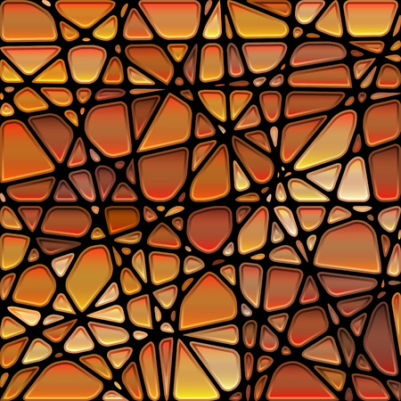 abstract vector stained-glass mosaic background - orange and brown Stock Photo