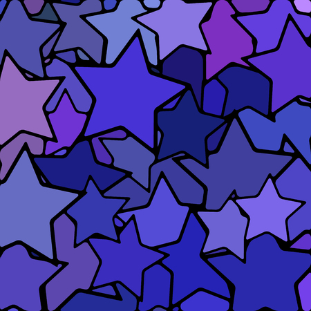 abstract vector stained-glass mosaic background - blue and violet stars Reklamní fotografie