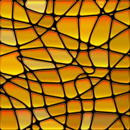 abstract vector stained-glass mosaic background - golden yellow