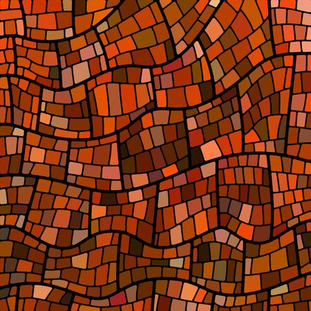 abstract vector stained-glass mosaic background - orange and brown