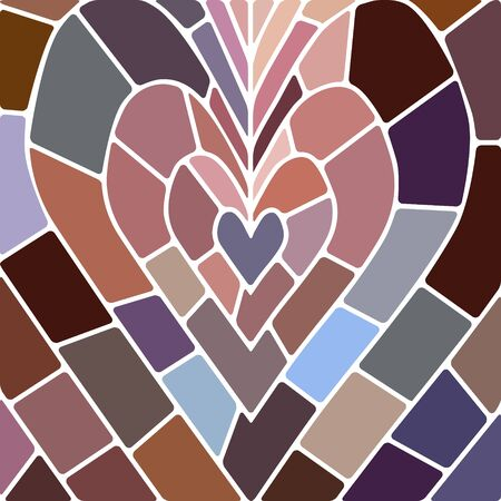 abstract vector stained-glass mosaic background - brown and blue heart