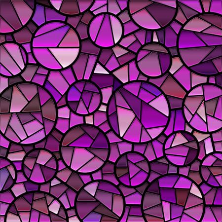abstract vector stained-glass mosaic background - purple and violet circles