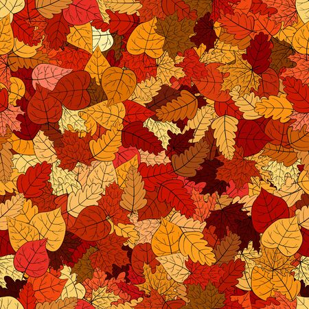 abstract vector doodle autumn leaves seamless pattern