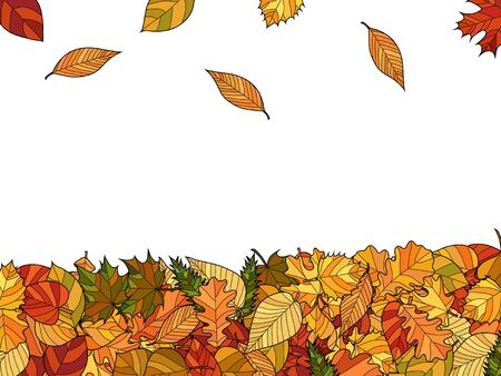 wide vector autumn background - falling leaves