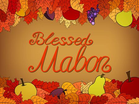 autumn calligraphic greeting card with fruit and leaves - Blessed Mabon Vector Illustration