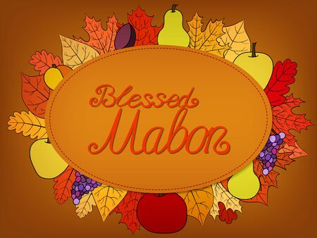 autumn calligraphic greeting card with fruit and leaves - Blessed Mabon