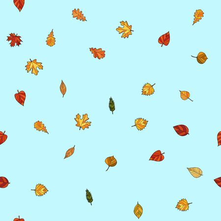 abstract vector doodle autumn leaves seamless pattern - leaves are falling from the light blue sky