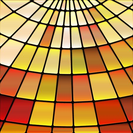 abstract vector stained-glass mosaic background - orange and yellow  イラスト・ベクター素材