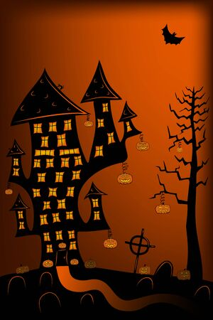 Scary night halloween landscape with house, trees, pumplins, graveyard, black cat and flying bats. Black, orange and yellow.