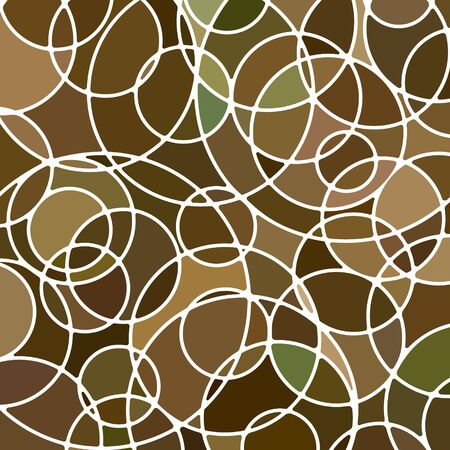 abstract vector stained-glass mosaic background - brown circles  イラスト・ベクター素材