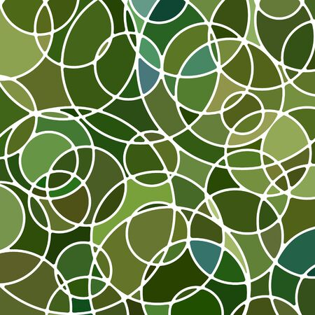 abstract vector stained-glass mosaic background - green circles  イラスト・ベクター素材