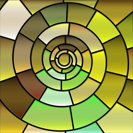 abstract vector stained-glass mosaic background - green and yellow Ilustração Vetorial