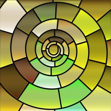 Fondo de mosaico de vidrieras de vector abstracto - verde y amarillo Ilustración de vector