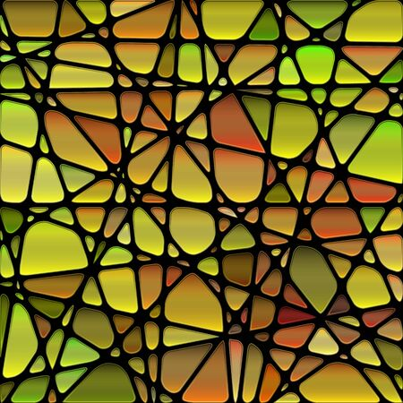 abstract vector stained-glass mosaic background - brown and green