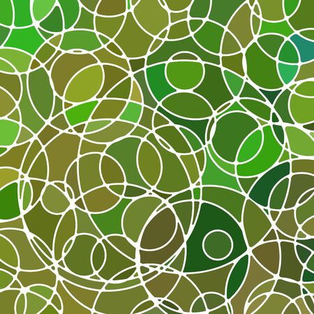 abstract vector stained-glass mosaic background - green and brown circles