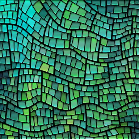 abstract vector stained-glass mosaic background - green and blue 일러스트
