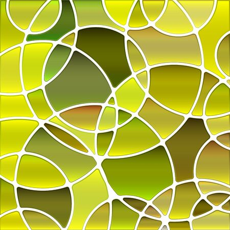 abstract vector stained-glass mosaic background - yellow and green circles