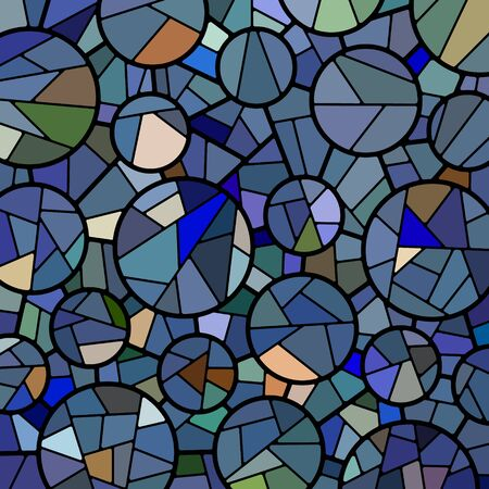 abstract vector stained-glass mosaic background - blue circles