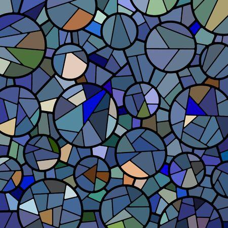 Vector abstracto fondo de mosaico de vidrieras - círculos azules