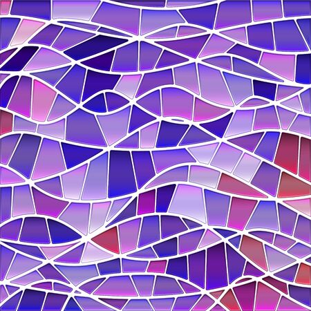 abstract vector stained-glass mosaic background - purple and violet waves