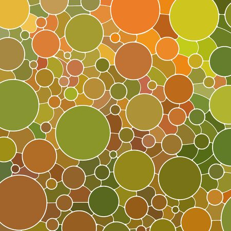 abstract vector stained-glass mosaic background - green and orange circles