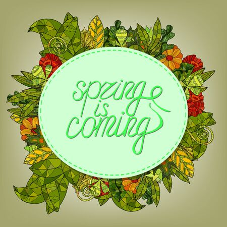spring lettering greeting card with cartoon flowers and leaves - spring is coming