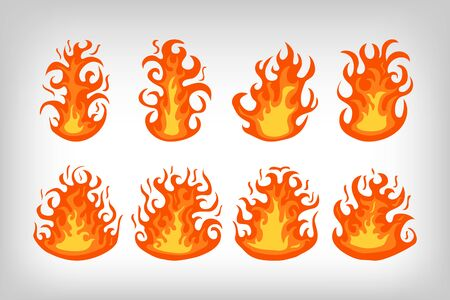 cartoon flames vector set, red and orange  イラスト・ベクター素材