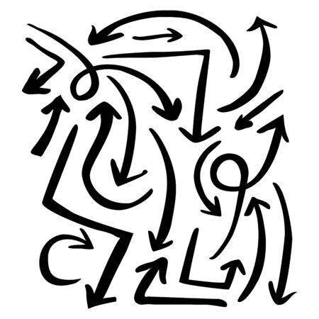set of vector black ink doodle arrows