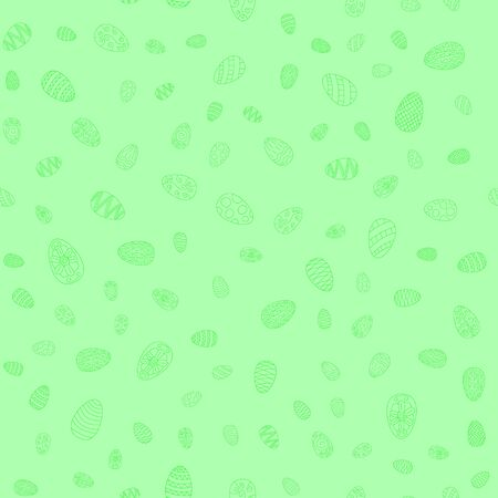 doodle vector easter eggs chaotic seamless pattern - light green