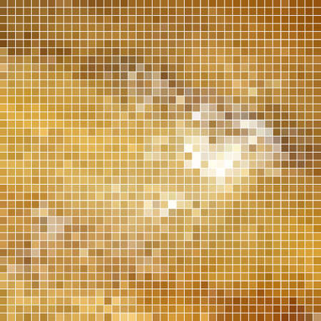abstract vector square pixel mosaic background - yellow and brown