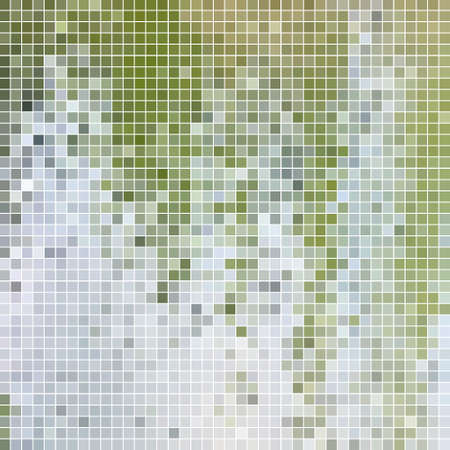abstract vector square pixel mosaic background - green and gray