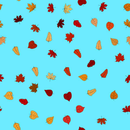 abstract vector doodle autumn leaves seamless pattern Foto de archivo - 151360387