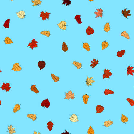 abstract vector doodle autumn leaves seamless pattern Foto de archivo - 151360388