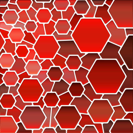 abstract vector stained-glass mosaic background - red hexagons