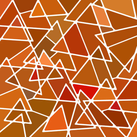 abstract vector stained-glass mosaic background - orange and brown triangles Illusztráció