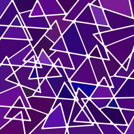 abstract vector stained-glass mosaic background - purple and violet triangles