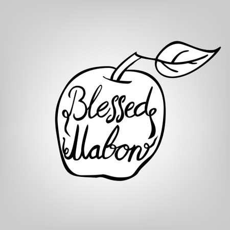 mabon black ink lettering - blessed mabon, in apple with leaf