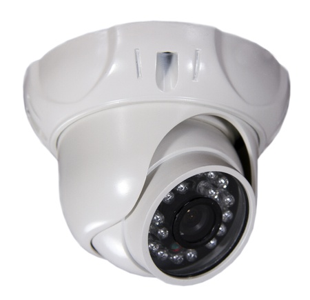 security camera on white background. Isolated photo