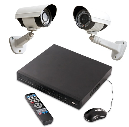 corbel: Digital Video Recorder end security camera isolated on white Stock Photo