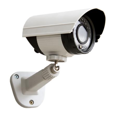 dia y noche: D�a y Noche Color de la c�mara de vigilancia IP aislado en fondo blanco Foto de archivo