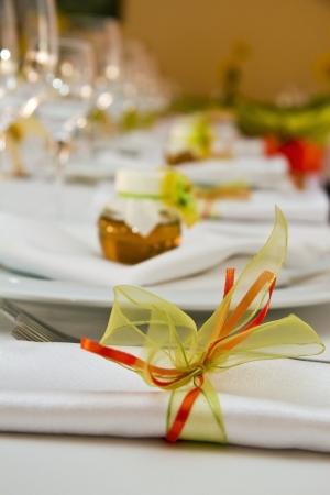 Fancy table set for a wedding Stock Photo