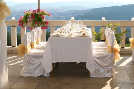wedding table setting: Fancy table set for a wedding Stock Photo