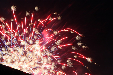 antastic colorful fireworks with black copyspace, perfect for the New Year, Independence Day or other celebrations photo
